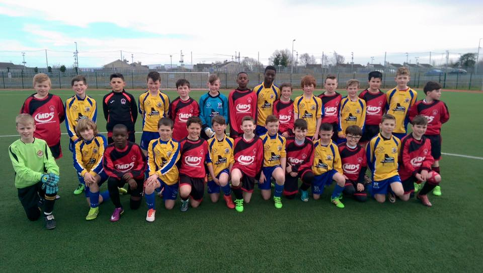 Park u12 team with newbridge town on friday before they arrived at the Aviva stadium to watch Ireland defeat Switzerland , Friday 25-03-2016
