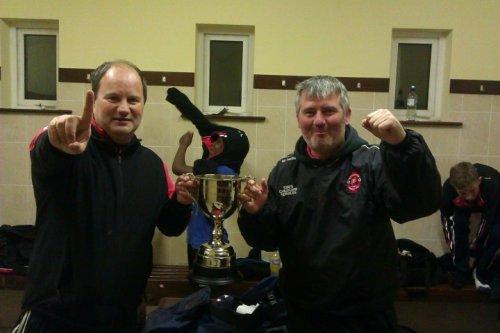 Park U13A managers John Dillane and Padraig Killeen with the John Joe Naughton U13 Cup.