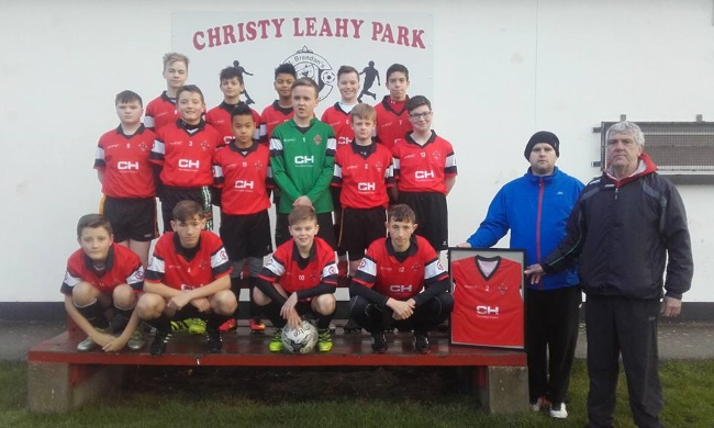 St Brendans Park Fc U14B squad with their new kit kindly sponsored by CH CHEMIST, Tralee on Saturday 7th January 2017
